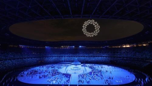 2020年東京オリンピック開会式でIntelのドローン1,824機の編隊飛行によるイルミネーション