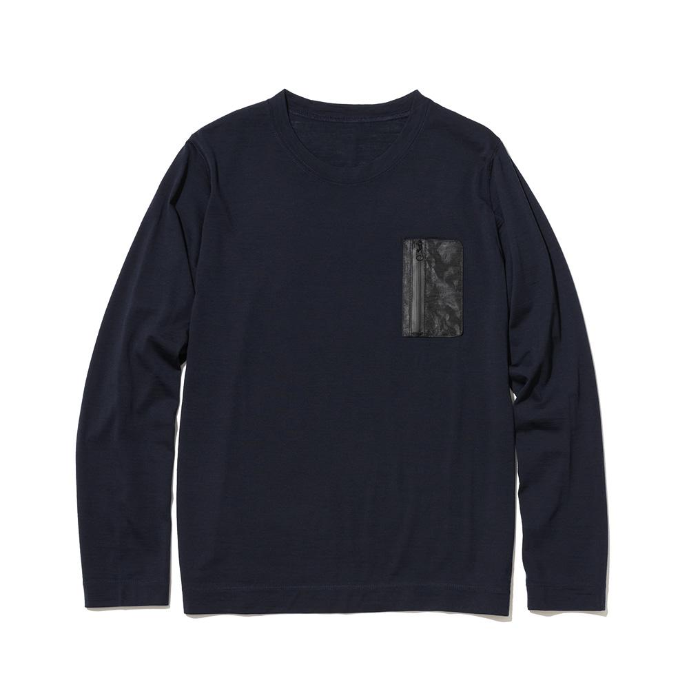 NEXTRAVELER TOOLS Black Pocket with Merino Wool Long Sleeve T-Shirt